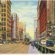 Vintage Detroit Woodward Avenue Poster