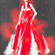 Vintage Dress Red Ball Gown - By Diana Van Poster