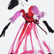 Vintage Fashion In Pink And Black Poster