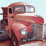 Vintage Fire Truck Watercolor Painting In A Local Scrapyard Poster