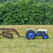 Vintage Ford Blue And White Tractor On A Farm Poster