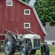Vintage Ford Farm Tractor With Red Barn Poster