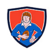 Vintage French Rugby Player Holding Ball Crest Cartoon Poster