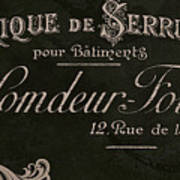 Vintage French Typography Sign Poster