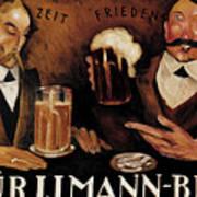Vintage German Beer Advertisement, Friends Drinking Bier Poster