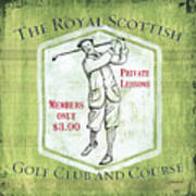 Vintage Golf Green 1 Poster