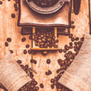 Vintage Grinder With Sacks Of Coffee Beans Poster