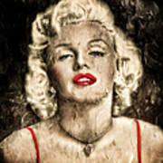 Vintage Grunge Goddess Marilyn Monroe  Poster