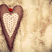 Vintage Handmade Plush Heart Pillow On The Soft Blanket Poster