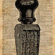 Vintage Handstamp Illustation Over Old Book Page Poster