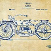 Vintage Harley-davidson Motorcycle 1919 Patent Artwork Poster