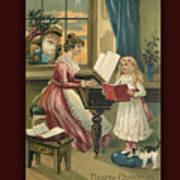 Vintage Hearty Christmas Postcard Poster