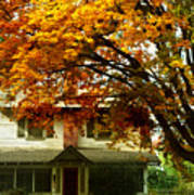 Vintage Home In Autumn Poster