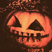 Vintage Horror Pumpkin Head Poster