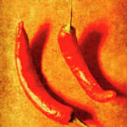 Vintage Hot Curry Peppers Poster