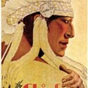 Vintage Illustration of an Indian Chief - The Chief is still chief - Indian Headgear - Retro Poster Poster