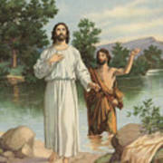 Vintage Illustration Of The Baptism Of Christ Poster