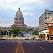 Vintage July 1968 View Looking Up Congress Avenue To The Texas State Capitol Poster