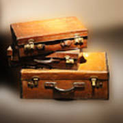 Vintage Leather Suitcases Poster