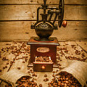 Vintage Manual Grinder And Coffee Beans Poster