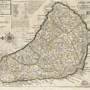 Vintage Map Of Barbados - 1736 Poster