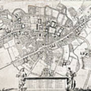 Vintage Map Of Cambridge England - 1690 Poster