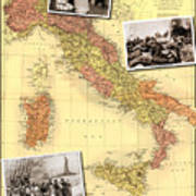 Vintage Map Of Italy Genealogy Map Poster