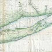 Vintage Map Of Long Island Ny Poster