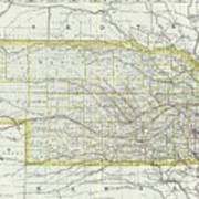 Vintage Map Of Nebraska - 1889 Poster