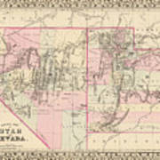 Vintage Map Of Nevada And Utah - 1880 Poster
