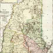 Vintage Map Of New Hampshire - 1796 Poster