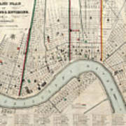 Vintage Map Of New Orleans Louisiana - 1845 Poster