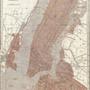 Vintage Map Of New York City - 1845 Poster