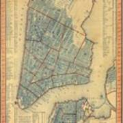 Vintage Map Of New York City - 1846 Poster