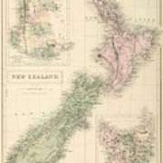 Vintage Map Of New Zealand - 1854 Poster