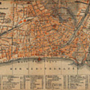 Vintage Map Of Nice France - 1914 Poster