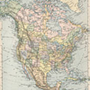 Vintage Map Of North America - 1892 Poster