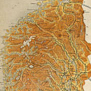 Vintage Map Of Norway - 1914 Poster