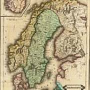 Vintage Map Of Norway And Sweden - 1831 Poster