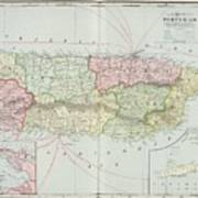 Vintage Map Of Puerto Rico - 1901 Poster