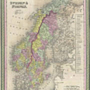 Vintage Map Of Scandinavia - 1850 Poster