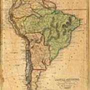 Vintage Map Of South America - 1821 Poster