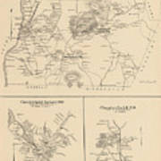 Vintage Map Of Spofford And Chesterfield Nh - 1892 Poster