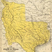 Vintage Map Of Texas - 1847 Poster