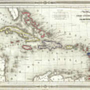 Vintage Map Of The Caribbean - 1852 Poster