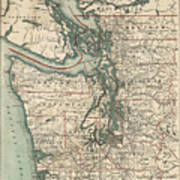 Vintage Map Of The Puget Sound - 1910 Poster