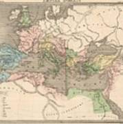 Vintage Map Of The Roman Empire - 1838 Poster