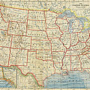 Vintage Map Of United States, 1883 Poster