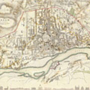 Vintage Map Of Warsaw Poland - 1831 Poster