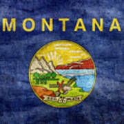 Vintage Montana Flag Poster